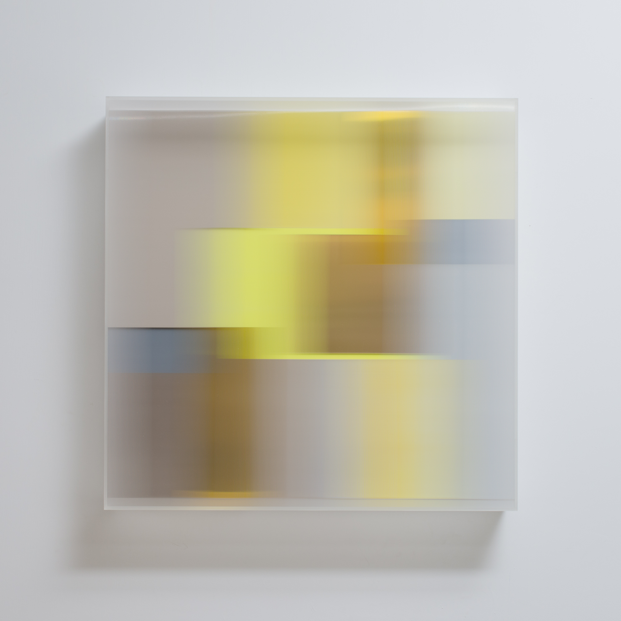 Christiane Grimm Sliding into gold 60x60x10cm 2019 mixed media and acrylic glass
