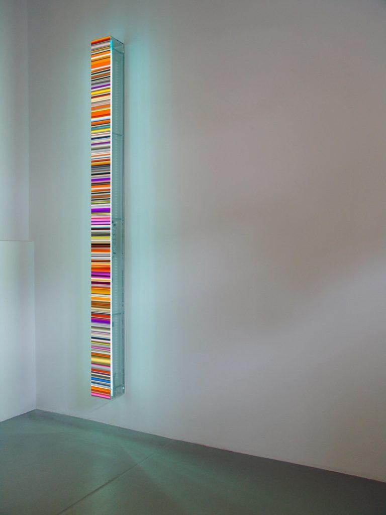 """Hans Kotter Colour Code """"Plexi"""" 200x13x13cm 2021 Plexiglas, Slide, LED's colour change, remote"""