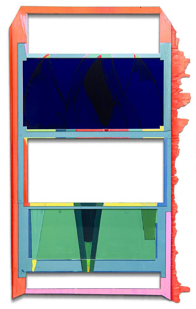 Tim Freiwald Blue Rider Rocket 230 x 138.4 cm 2020  Chalk, Pigment, Binder, Varnish, Wax, Hard Resin on Wood and Rigid Foam