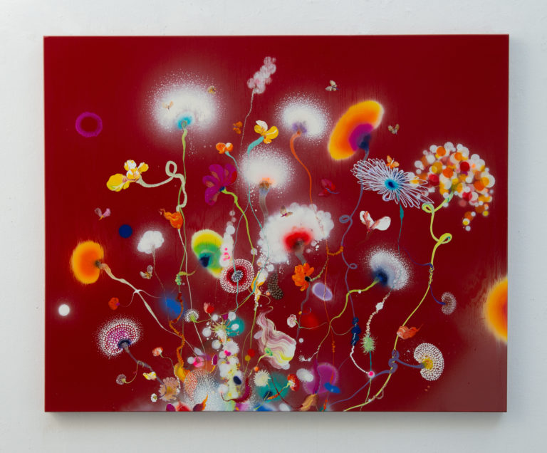 Thierry Feuz Psychotropical Purple Anima 130 x 160 cm 2021 Lacquer and acrylic on canvas
