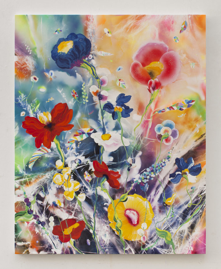 Thierry Feuz Hyperboreal Arcadia 200 x 160 cm 2021 Lacquer, oil and glitter on canvas
