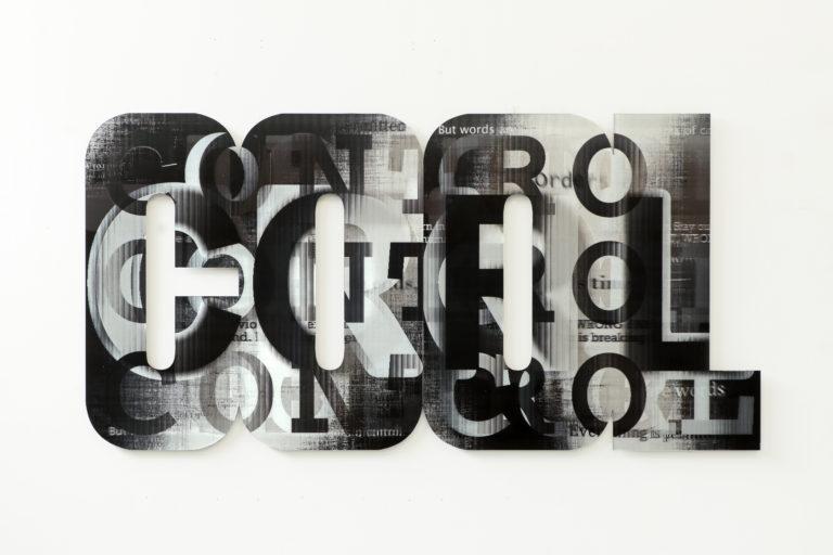 Pascal Dombis COntrOL 180x90cm 2020 Cut lenticular print on aluminum composite