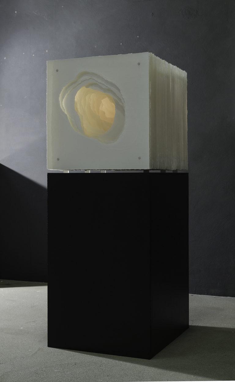 Angela Glajcar Terforation 2020 51 x 60 x 51 cm  Torn 350g paper, metal and plastic mount