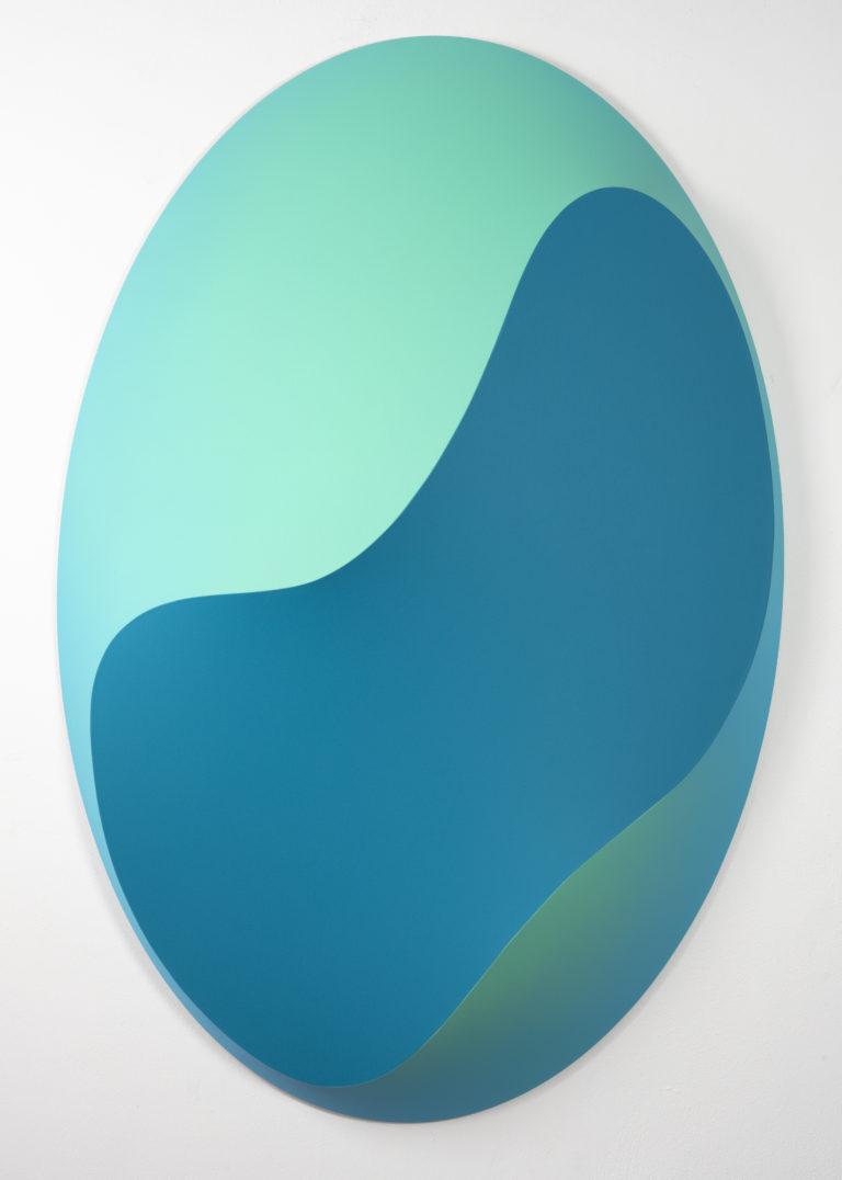 Jan Kaláb Varped Elipse 150x100x15cm 2020 Acrylic on canvas