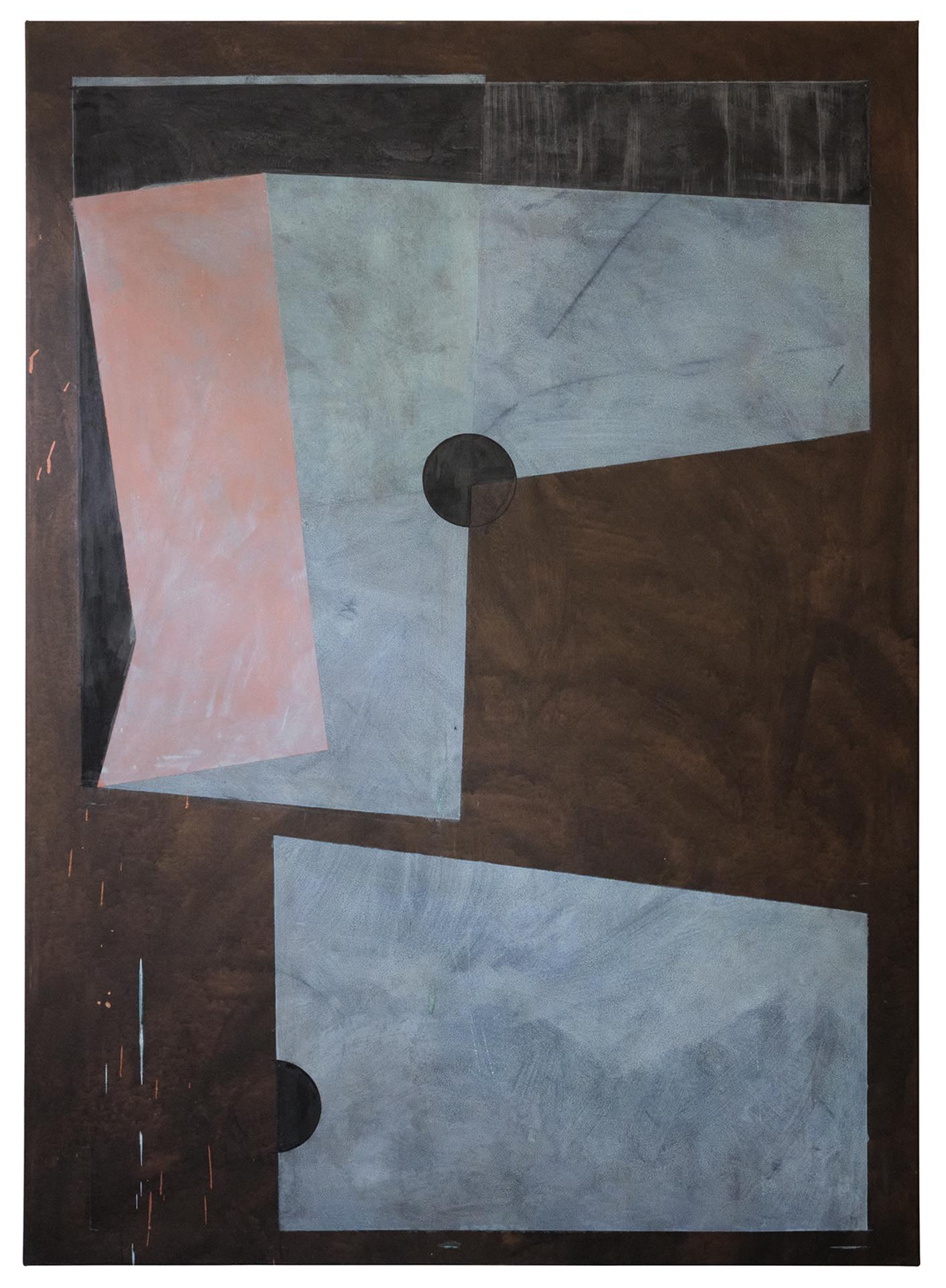Gregor Eldarb Schinittmuster(Sewing pattern) 2020 140x100cm Acrylic, ink, copper paint, oxydised copper paint on canvas